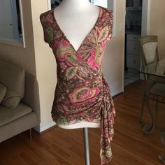 Sweet Pea by Stacy Frati Faux Wrap Top, size small Beautiful flattering Sweet Pea faux wrap floral top with draping fabric on the side in size small Sweet Pea Tops