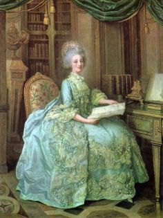 Portrait of Madame Sophie by Lié Louis Périn-Salbreux    Until somewhat recently this was considered a portrait of Marie Antoinette. But because of her color of the eyes, the older/'mature' kerchief and the distinctive pattern on the floor, it was determined to be Madame Sophie.