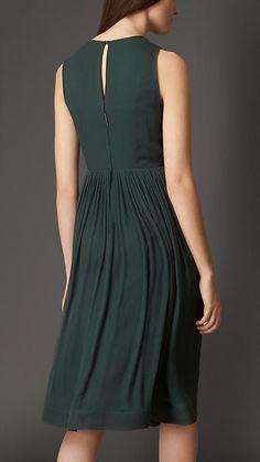 Black emerald Pleated Silk Dress - Burberry London