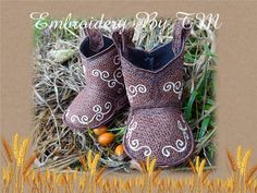 Cowboys baby booties number two-FSL-11 free your by EmbroideryByTM