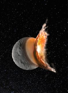 The young asteroid Vesta started off as a round protoplanet, but a massive collision early in its life caused it to become more elliptical in shape and created the giant crater Rheasilvia, scientists say. This image is an artist's illustration of that catastrophic event.