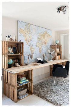 55 Incredible DIY Office Desk Design Ideas and Decor Diy Pallet Furniture, Home Office Furniture, Furniture Design, Furniture Ideas, Crate Furniture, Furniture Stores, Rustic Furniture, Modern Furniture, Furniture Repair