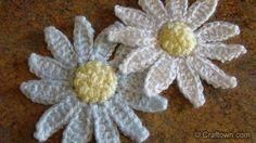 NEW! Crochet! Free Crochet Flowers! Easy and Fun Daisy Applique's ! . ☀CQ #crochet #crafts #DIY.