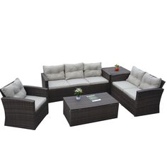 Rio-5 Piece Dark Brown All Weather Wicker Conversation set with Storage and Tan Color Cushions - Overstock Shopping - Big Discounts on Sofas, Chairs & Sectionals
