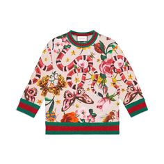 Gucci Garden Exclusive Sweatshirt (11.380 NOK) ❤ liked on Polyvore featuring tops, hoodies, sweatshirts, gucci, flower print top, cotton 3/4 sleeve tops, three quarter sleeve tops and floral tops