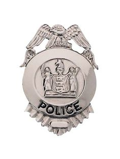 """2.5"""" Metal Silver Police Badge Costume Accessory"""
