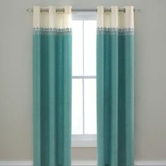 Turquoise white cream ivory off white curtains drapes teen preteen girls