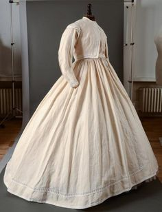 White on White Afternoon Dress, c 1865
