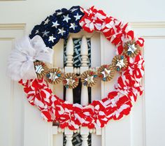 ....Tim Holtz Sizzix Tattered Florals and Mini Paper Rosettes Dies. Patriotic Wreath and Garland.