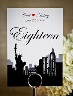 New+York+5+x+7+inch+Wedding+Table+Numbers+NYC+by+PaperHeartPrint,+$32.00 Table # Inspiration