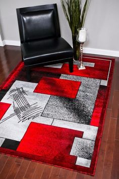 Red Gray Abstract Contemporary 5x8 Area Rugs 8x11 - Bargain Area Rugs