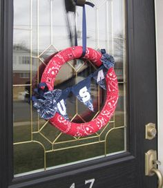 DIY Americana Wreath made using Bandanas and iron on letters
