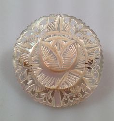 Vintage MOTHER of PEARL Hand Carved Floral by thepopularjewelry, $22.00
