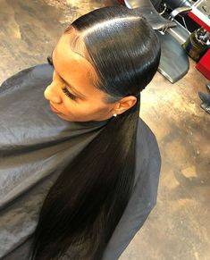 - All For Hairstyles Long Ponytail Hairstyles, Hair Ponytail Styles, Black Girl Braided Hairstyles, Slick Hairstyles, Baddie Hairstyles, Curly Hair Styles, Long Ponytails, Fringe Hairstyles, Natural Hairstyles