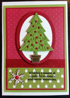 Christmas Card - using all Stampin' Up! items including new Peaceful Pine Stamp Set, 6 x 6 DSP Merry Moments and Embellishments.