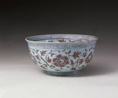 Underglaze Red Bowl with Interlocking Flowers Design, 14th Century, Ming Dynasty, Hong Wu Period (1368 - 1398). Diameter 20.3cm. Collected from Shandong Cultural Relics in 1982.. Shandong Museum © Virtual Collection of Asian Masterpieces, 2013
