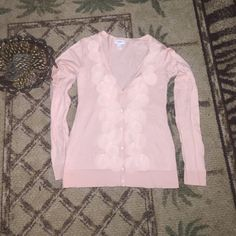 Sweater in Pale Pink Loft sweater with sweet circle embellishment LOFT Tops