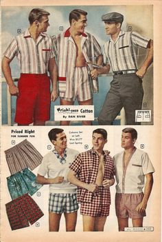 Montgomery Ward 1959 summer catalog.  Men's swimwear and casual clothes.