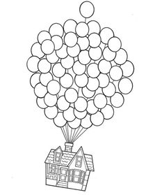 House On Balloons  Coloring page