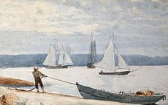 Drawing - Pulling The Dory by Winslow Homer