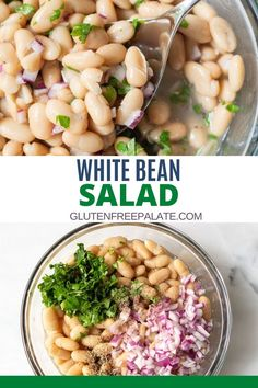 A simple yet refreshing white bean salad that's healthy and full of flavor. This white bean salad is perfect for pot lucks, BBQ's, and dinner parties. It only takes five minutes to make this white bean salad recipe but it can also be made ahead of time and refrigerated. Easy Gluten Free Desserts, Gluten Free Sides Dishes, Gluten Free Recipes For Dinner, Whole Food Recipes, Healthy Recipes, Healthy Food, Northern White Bean Recipe, Great Northern Beans, White Bean Recipes