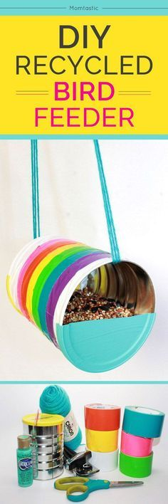 DIY Duct tape bird feeder - click through to see more fantastic Bird Feeder diy tutorials. The perfect spring project/diy idea! If love crafts and spring time then this list is for you. This rainbow bird feeder is a super simple tutorial to follow, as are the rest.