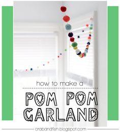 Pom Pom Garland #DIY | crab+fish