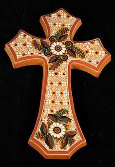 "- Hanging Ceramic Cross from Mexico - This gorgeous cross is 12"" tall. - It is 7 3/4"" wide. - The depth is almost 3/4"". The colors are bright and hand painted. - This wonderful hand crafted cross is m"