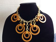 Vintage Bakelite Butterscotch Ring Circle Deco Necklace Celluloid Chain Tested