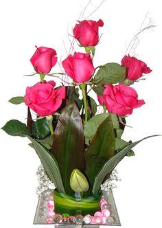 Simple Flowers, Flower Arrangements, Glass Vase, Base, Plants, Decor, Rose Arrangements, Hot Pink Roses, Floral Arrangements