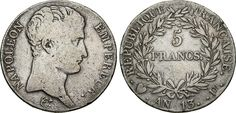 NumisBids: Numismatica Varesi s.a.s. Auction 65, Lot 728 : NAPOLEONE I, Imperatore (1804-1814) 5 Franchi An. 13 (1804-1805)...