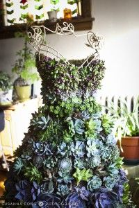 A dress form I filled with a variety of succulents - perfect for a boutique entryway! Made by 4 Seasons Painting & Landscaping