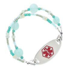 Relax as the calming hues of aqua blue and sea foam green calm your spirit with our newest medical ID bracelet. LaMer brings you a mix of sea foam chalcedony, blue Ceylon and hints of yellow beads. Attach this double strand style to your custom engraved medical ID tag to complete the look that brings you safety with style. #laurenshopeID #medicalID $49.95