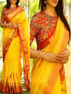 Yellow silk saree with design blouse Best Indian Saree CLICK VISIT link to seeA Lemon Yellow Saree With Animal Print Cotton BlouseDesign your accessoriesHow to Select the Best Modern Saree for You? Pattu Saree Blouse Designs, Silk Saree Blouse Designs, Blouse Neck Designs, Saree Blouse Patterns, Soft Silk Sarees, Yellow Saree Silk, Red Saree, Yellow Blouse, Modern Saree