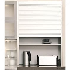 Tambour Door Kit with Exact Widths - Stainless Steel Finish - 25 mm - - Richelieu Hardware Bath Cabinets, Kitchen Cabinets In Bathroom, Kitchen Cabinet Doors, Kitchen And Bath, Kitchen Interior, Kitchen Reno, Kitchen Ideas, Kitchen Design, Metal Extrusion
