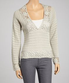 Take a look at this Silver Crocheted V-Neck Sweater by Young Threads on #zulily today! Misses Clothing, Classy Outfits, Classy Clothes, Crochet Clothes, Cute Fashion, Fashion Accessories, Glamour, V Neck, Pullover