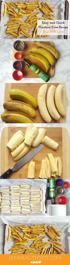 Eat healthier with this version of plantain fries. Say no to frying and use this delicious alternative.  clean eating / plantains / latina / vegan / healthy / food / baking / thyme / sea salt / cayenne