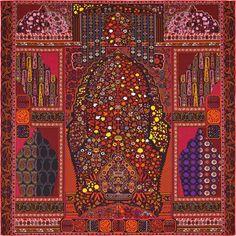 Scarf 140 Hermès   Tapis Persans Tapis Persans Hermes silk twill giant  plume scarf, hand e0425b5b7e6