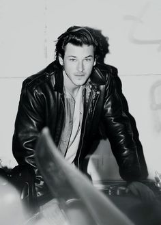 Can we just talk about how hot Gaspard Ulliel is? Like holy crap. Gaspard Ulliel, Saint Laurent 2014, Gypsy Men, Kylie Scott, Leather Flight Jacket, Leather Jackets, Chanel Men, Leather Jeans, Guy Pictures