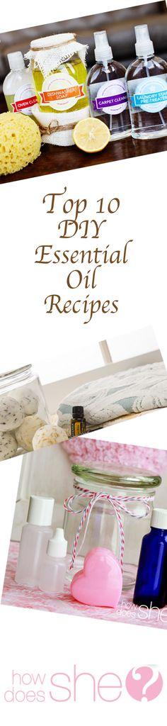 Top 10 DIY Essential Oil Recipes #howdoesshe #oilsforkids howdoesshe.com