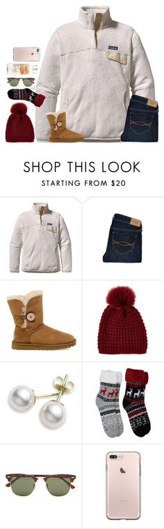 """""""Untitled #1654"""" by southernstruttin ❤ liked on Polyvore featuring Patagonia, Abercrombie & Fitch, UGG, Kyi Kyi, Mikimoto and Ray-Ban"""