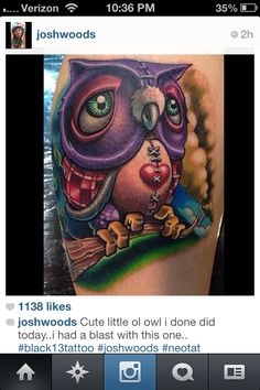 Josh Woods owl tattoo from Instagram