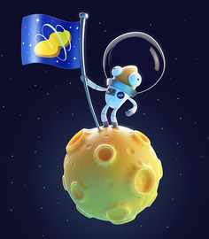 ASTRONUT This is a character I've had rattling around in my head for a while now. He's an intrepid space explorer. Also, a peanut. Mostly created in Max, with the moon sculpted in ZBrush and the. Simple Character, 3d Character, Blender 3d, Game Design, Illustrations, Illustration Art, 3d Modellierung, Level Design, Mini Mundo