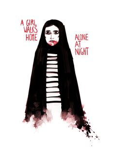 A girl walks home alone at night(2014) by Ana Lily AmirpourHands down the best (and only) Iranian black&white vampire spaghetti western I've seen so far.Iconic image: Late at night, The Girl is gliding through the streets of fictional Iranian town Bad City on a skateboard, her chador flapping its wings. Very bad ass.[Seen @ Curzon Bloomsbury, London, Thursday 28 May 2015]