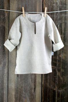 Boy shirt - Natural gray linen boy shirt - size 6 - 7 years