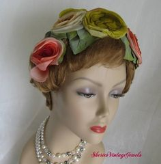 VINTAGE 50S FLORAL COCKTAIL HAT BOLD and by SheriesVintageJewels