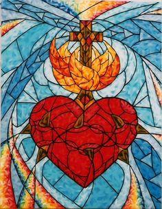 Sacred Heart Heart Pictures, Jesus Pictures, Catholic Art, Religious Art, Jesus E Maria, Jesus Art, Mary And Jesus, Heart Of Jesus, Cross Paintings