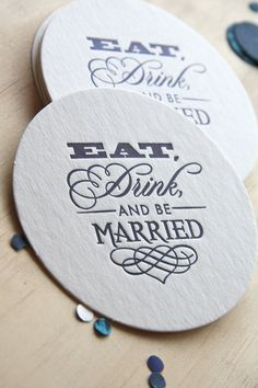 Wedding Letterpress Coaster Eat, Drink and be Married set of 6 navy blue, royal blue, dark blue, gift tag, wedding gift