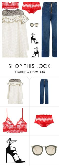 """""""Stuck On Dresses Over Jeans Again"""" by amberelb ❤ liked on Polyvore featuring Isa Arfen, Only Hearts, Stuart Weitzman and Karen Walker"""