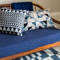 Niki Jones   Isosceles, Harlequin Cushions   Chess Wool Rug   www.niki-jones.co.uk